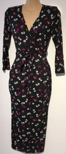 DOROTHY PERKINS BLACK MATERNITY/NURSING FLORAL DRESS SIZE UK 6